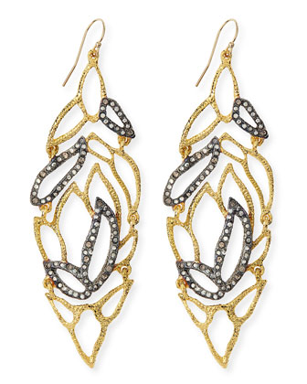 Phoenix Crystal Embellished Lacy Leaf Earrings