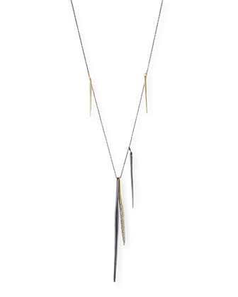 Miss Havisham Kinetic Gunmetal Spear Necklace with Crystals