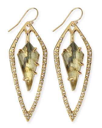 Miss Havisham Labradorite Doublet & Crystal Kite Earrings