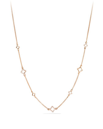 Venetian Quatrefoil Chain Necklace with Diamonds in Rose Gold