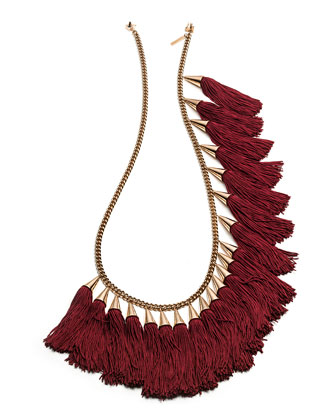 Silk Tassel Spray Necklace, Rose/Burgundy