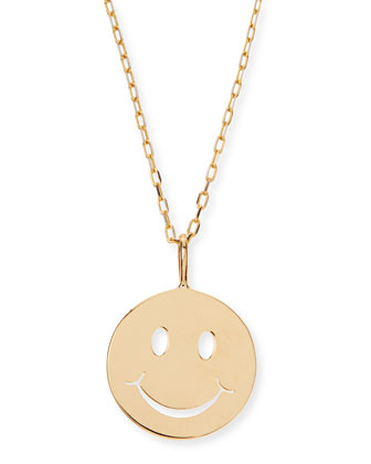 14k Yellow Gold Pure Mini Happy Charm Necklace