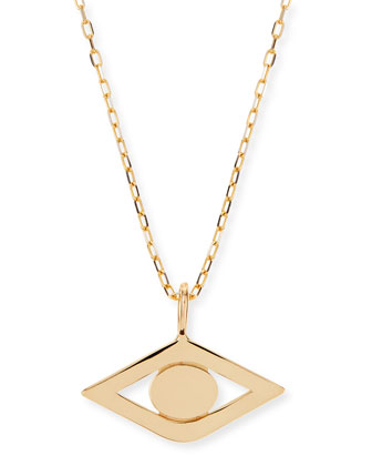 14k Yellow Gold Evil Eye Charm Necklace