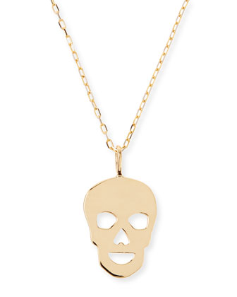 14k Yellow Gold Skull Charm Necklace