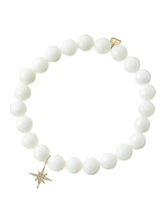 8mm Faceted White Agate Beaded Bracelet with 14k Gold/Diamond Small ...