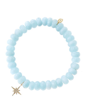Aquamarine Rondelle Bracelet with Diamond Starburst Charm (Made to Order)