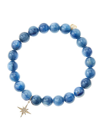 Kyanite Round Beaded Bracelet with 14k Gold/Diamond Small Starburst Charm ...