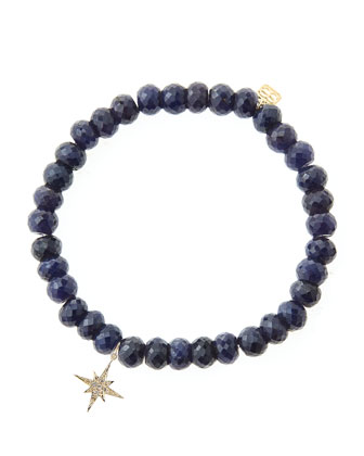 Blue Sapphire Rondelle Beaded Bracelet with 14k Gold/Diamond Small ...