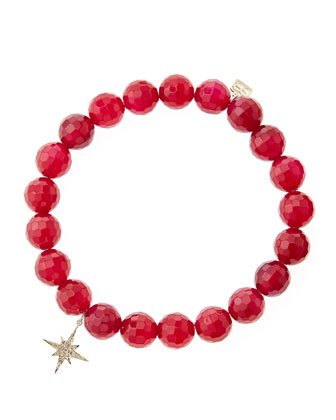 Red Agate Beaded Bracelet with 14k Gold/Diamond Small Starburst Charm (Made ...
