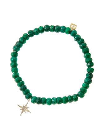 Emerald Rondelle Beaded Bracelet with 14k Gold/Diamond Small Starburst ...