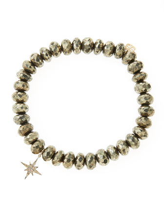 Champagne Pyrite Beaded Bracelet with 14k Gold/Diamond Small Starburst ...