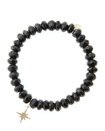 Black Spinel Beaded Bracelet with 14k Gold/Diamond Small Starburst Charm ...