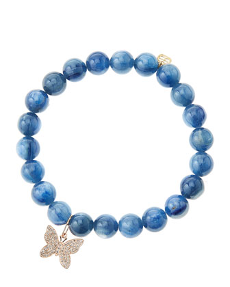 Kyanite Round Beaded Bracelet with 14k Gold/Diamond Small Butterfly Charm ...