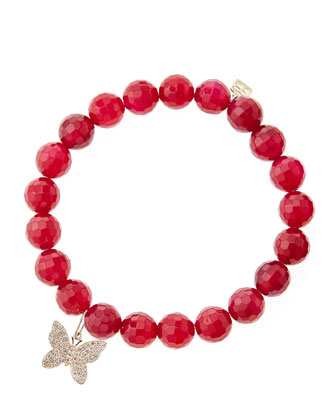 Red Agate Beaded Bracelet with 14k Gold/Diamond Small Butterfly Charm (Made ...