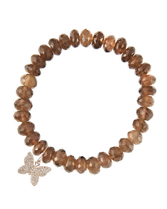 8mm Faceted Smoky Quartz Beaded Bracelet with 14k Gold/Diamond Small ...