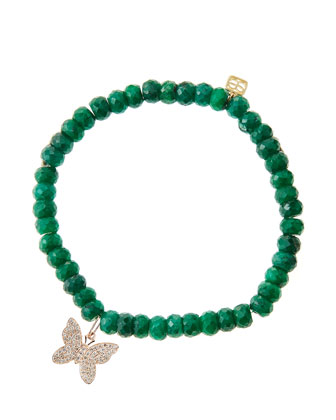 Emerald Rondelle Beaded Bracelet with 14k Gold/Diamond Small Butterfly ...