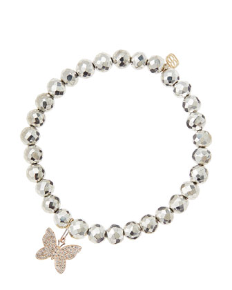 Silver Pyrite Beaded Bracelet with 14k Gold/Diamond Small Butterfly Charm ...