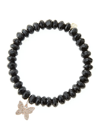 Black Spinel Beaded Bracelet with 14k Gold/Diamond Small Butterfly Charm ...