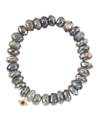 10mm Mystic Labradorite Beaded Bracelet with 14k Yellow Gold/Diamond Small ...