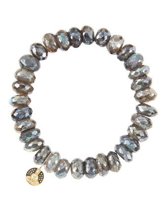 10mm Mystic Labradorite Beaded Bracelet with 14k Gold/Diamond Small Buddha ...