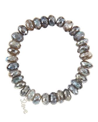 10mm Mystic Labradorite Beaded Bracelet with 14k White Gold/Diamond Small ...