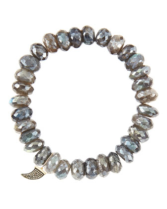 10mm Mystic Labradorite Beaded Bracelet with 14k Gold/Diamond Small Horn ...