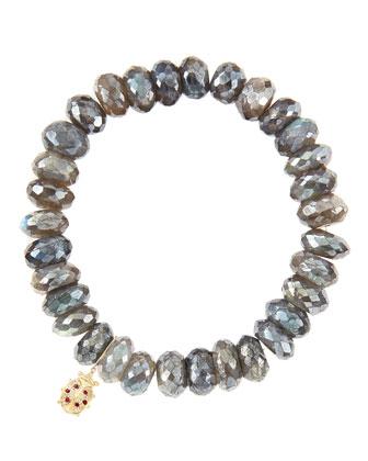 10mm Mystic Labradorite Beaded Bracelet with 14k Gold/Diamond Medium ...