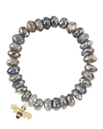 10mm Mystic Labradorite Beaded Bracelet with 14k Gold/Diamond Small Bee ...