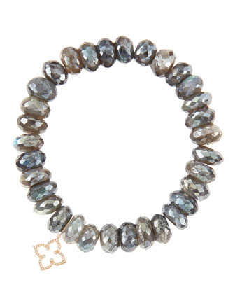 10mm Mystic Labradorite Beaded Bracelet with 14k Gold/Diamond Small ...
