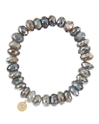 10mm Mystic Labradorite Beaded Bracelet with 14k Yellow Gold/Diamond Small ...