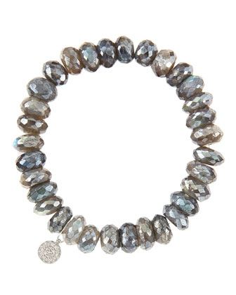 10mm Mystic Labradorite Beaded Bracelet with 14k White Gold/Diamond Small ...