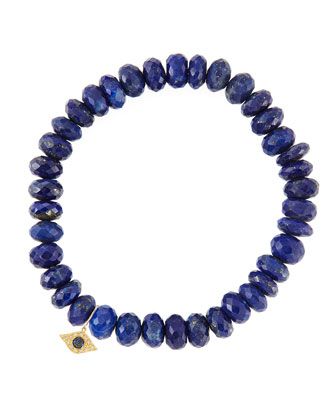 8mm Faceted Lapis Beaded Bracelet with 14k Yellow Gold/Diamond Small Evil ...
