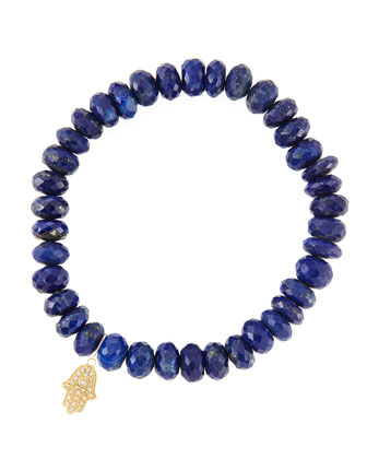 8mm Faceted Lapis Beaded Bracelet with 14k Yellow Gold/Diamond Small Hamsa ...