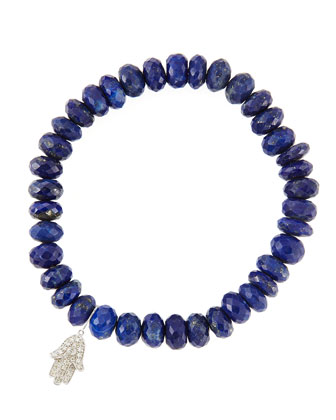8mm Faceted Lapis Beaded Bracelet with 14k White Gold/Diamond Small Hamsa ...