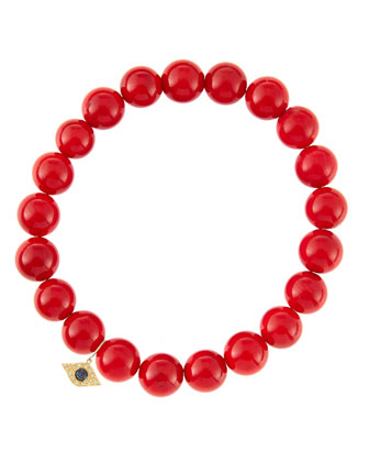 8mm Red Coral Beaded Bracelet with 14k Yellow Gold/Diamond Small Evil Eye ...