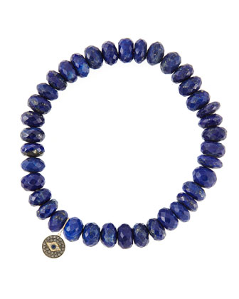 8mm Faceted Lapis Beaded Bracelet with 14k Gold/Diamond Round Evil Eye ...