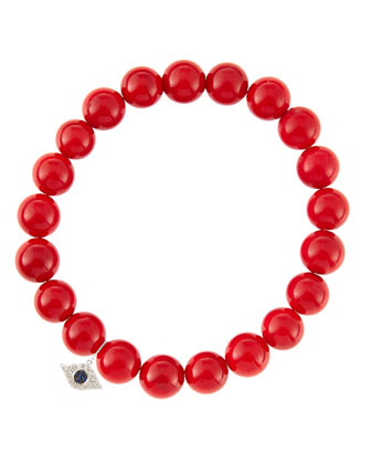 8mm Red Coral Beaded Bracelet with 14k White Gold/Diamond Small Evil Eye ...