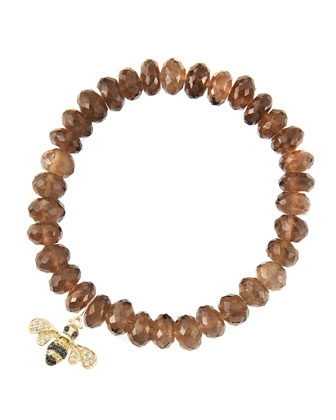 8mm Faceted Smoky Quartz Beaded Bracelet with 14k Gold/Diamond Small Bee ...