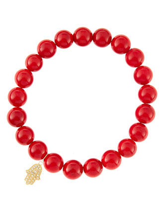 8mm Red Coral Beaded Bracelet with 14k Yellow Gold/Diamond Small Hamsa ...