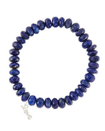 8mm Faceted Lapis Beaded Bracelet with 14k Gold/Diamond Small Love Charm ...