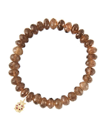 8mm Faceted Smoky Quartz Beaded Bracelet with 14k Gold/Diamond Medium ...