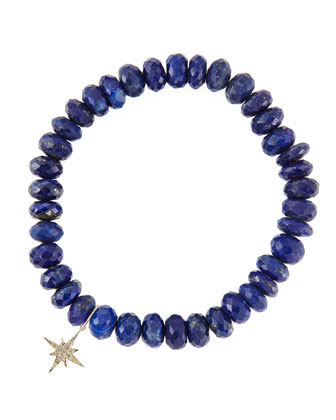 8mm Faceted Lapis Beaded Bracelet with 14k Gold/Diamond Small Starburst ...