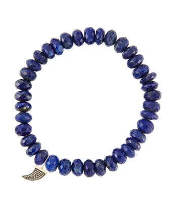 8mm Faceted Lapis Beaded Bracelet with 14k Gold/Diamond Small Horn Charm ...