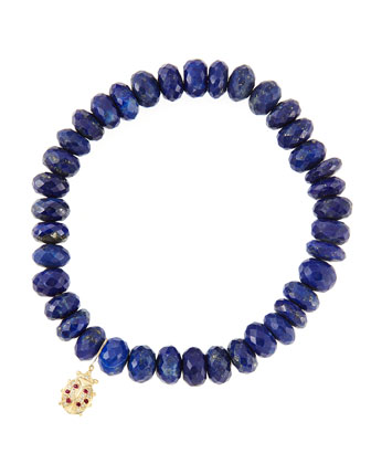 8mm Faceted Lapis Beaded Bracelet with 14k Gold/Diamond Medium Ladybug ...