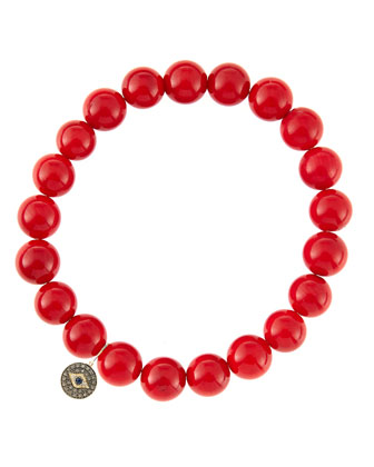8mm Red Coral Beaded Bracelet with 14k Gold/Diamond Round Evil Eye Charm ...