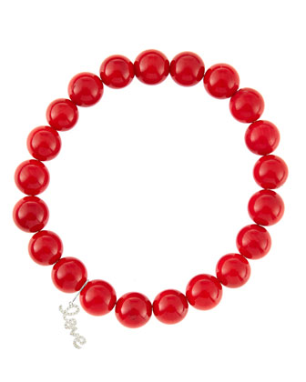 8mm Red Coral Beaded Bracelet with 14k White Gold/Diamond Small Love Charm ...