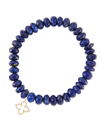 8mm Faceted Lapis Beaded Bracelet with 14k Gold/Diamond Small Moroccan ...