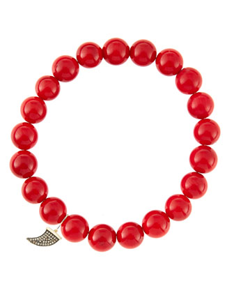 8mm Red Coral Beaded Bracelet with 14k Gold/Diamond Small Horn Charm (Made ...