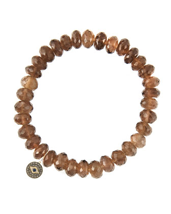 8mm Faceted Smoky Quartz Beaded Bracelet with 14k Gold/Diamond Round Evil ...