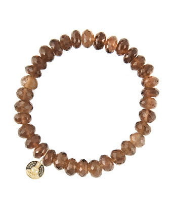 8mm Faceted Smoky Quartz Beaded Bracelet with 14k Gold/Diamond Small Buddha ...